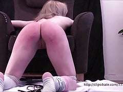 Petite young girl kneeling bound and flogged  by a old man