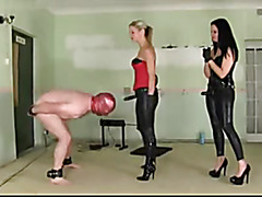 Dominant babes torture a sissy servant