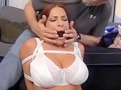 Busty mom tied up on the carpet