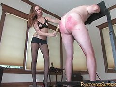 Leggy blonde beats big slave, cums on his face then milks