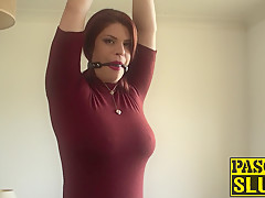 Bondaged redhead beauty Lucia Love rides a stick prick