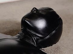 Leather bondage and orgasm