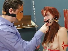 Redhead smacked as she dances in chains, fucked in all holes