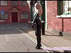 sexy latex dress out in public in Birmingham