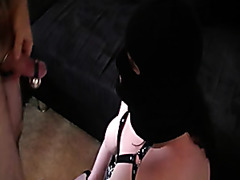 Masked girl gives kinky blowjob