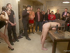 Hard bondage sex party in public