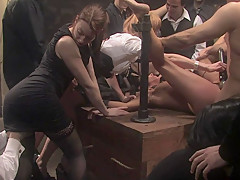 Group assfucking and rough humiliation
